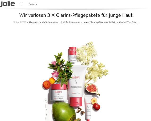 Jolie Gewinnspiel 3 x Clarins-Pflegepakete gewinnen