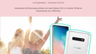 Glamour Gewinnspiel Samsung Galaxy S10+ gewinnen