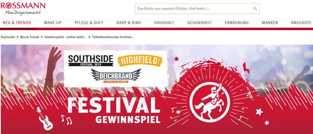 Rossmann Gewinnspiel VIP-Ticket für Festival gewinnen