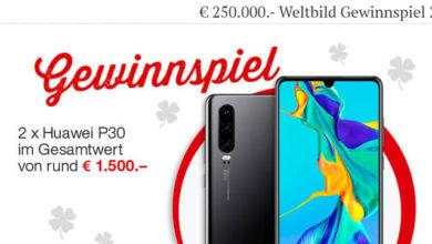 Bild von Weltbild Gewinnspiel Huawei P30 gewinnen