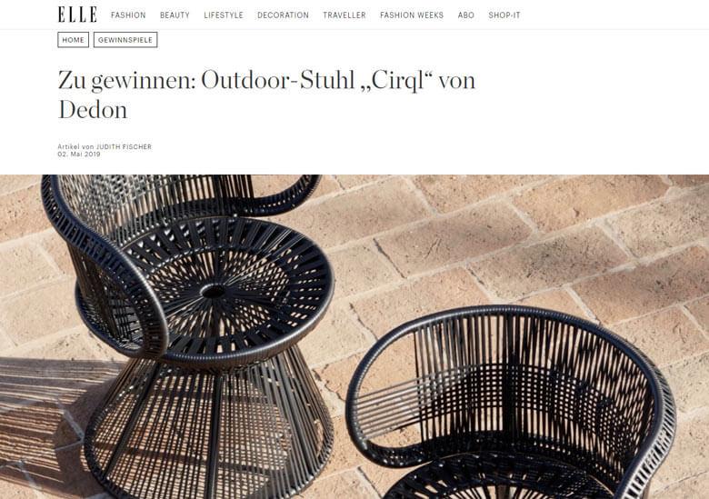 Elle Gewinnspiel Outdoor Stuhl gewinnen