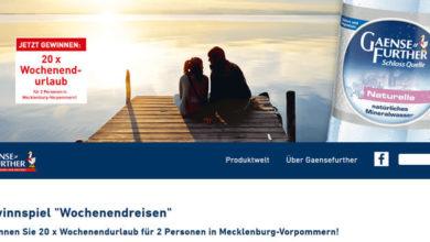 Gaensefurther Gewinnspiel Wochenendurlaub für 2 Personen gewinnen