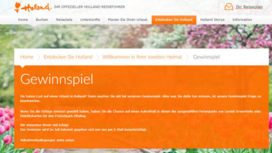 Holland.com Gewinnspiel Holland-Aufenthalt gewinnen