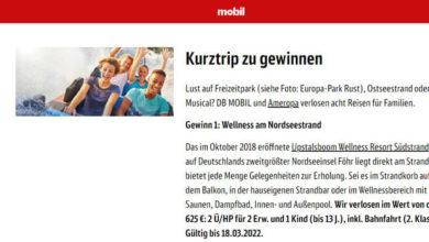 dbMobil Gewinnspiel Wellness am Nordseestrand gewinnen