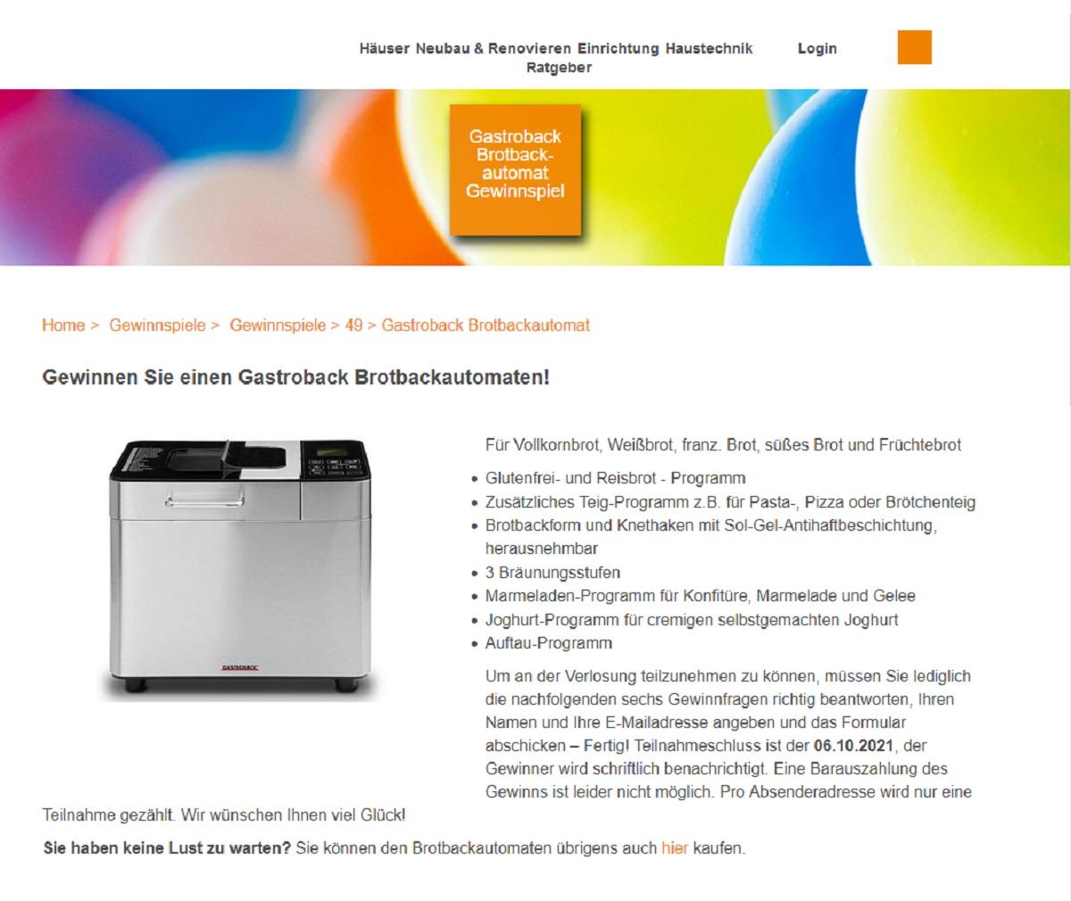 Gastroback Brotbackautomaten gewinnen - homeplaza.de Gewinnspiel