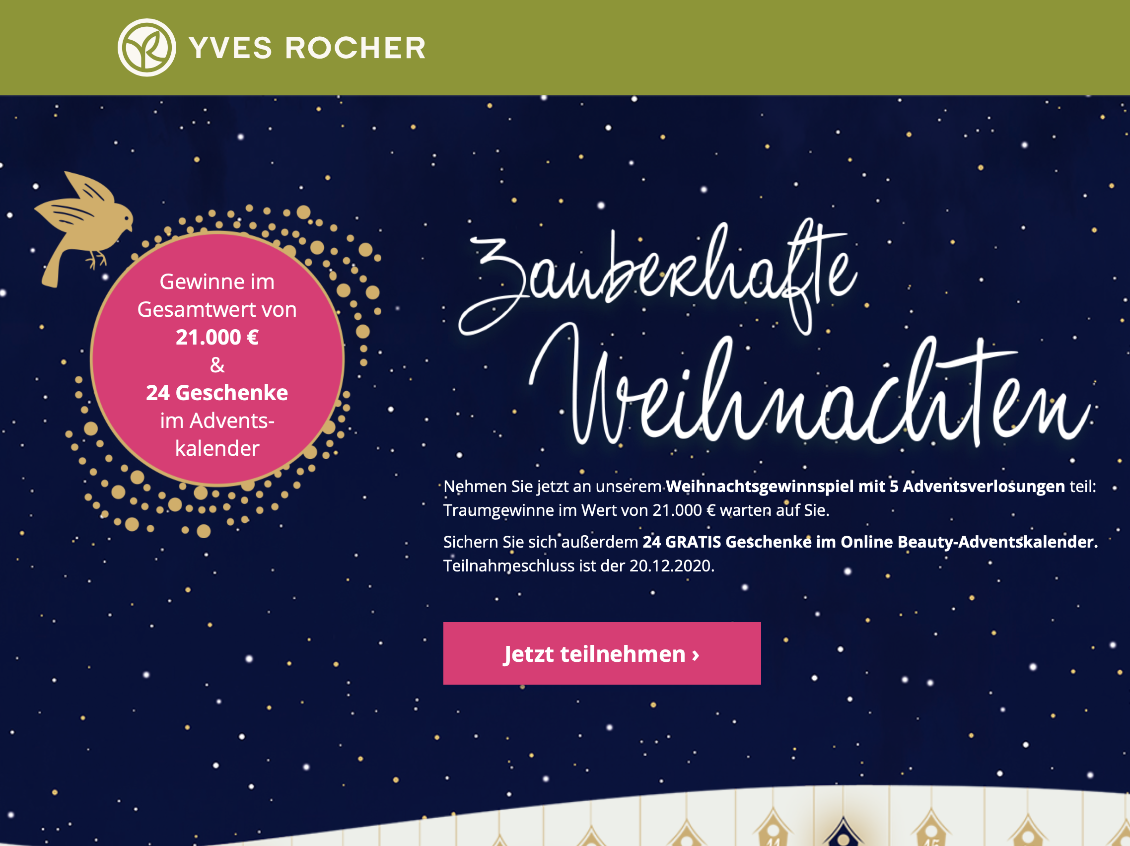 Yves Rocher - Weihnachtsgewinnspiel mit 5 Adventsverlosungen
