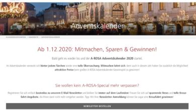 A-Rosa Kreuzfahrten Adventskalender Gewinnspiel 2020