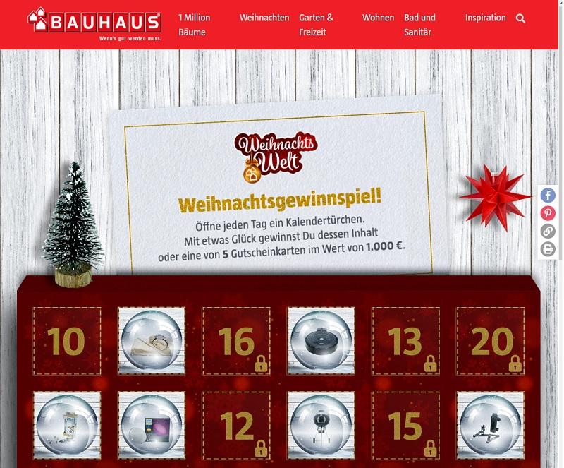 Bauhaus Adventskalender Gewinnspiel 2020