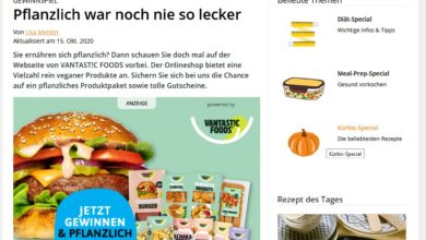 EatSmarter Produktpakete VANTAST!C FOODS Gewinnspiel