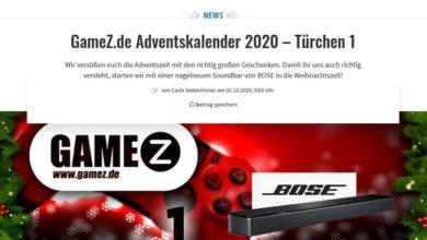GameZ.de Adventskalender Gewinnspiel 2020