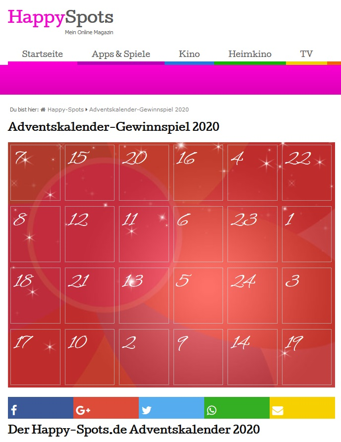 HappySpots Adventskalender Gewinnspiel 2020