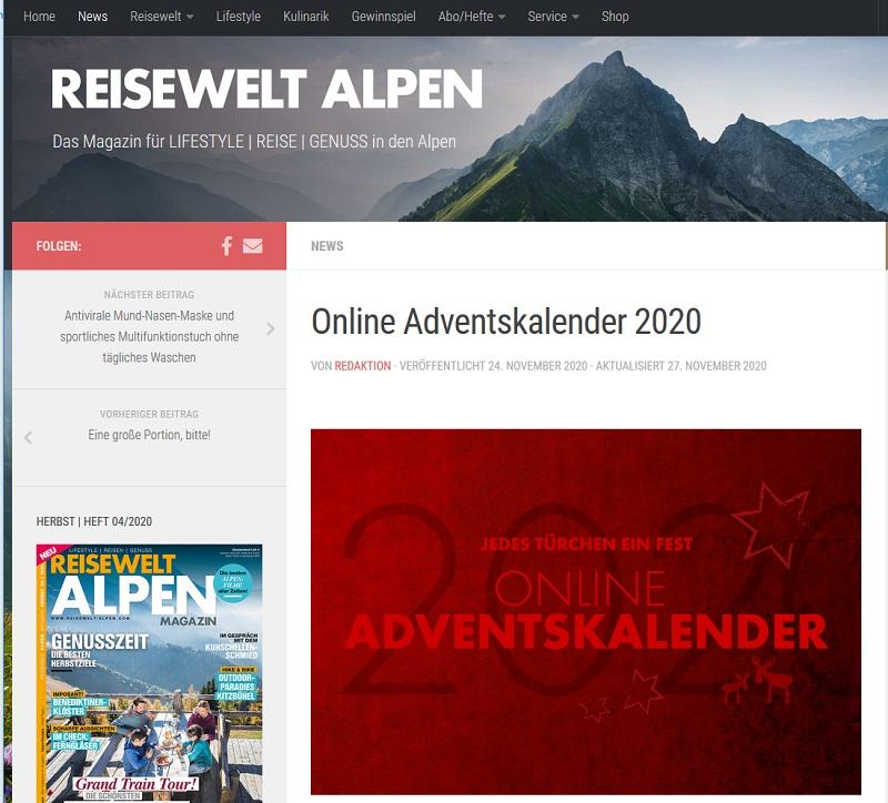 Reisewelt Alpen Gewinnspiel 2020