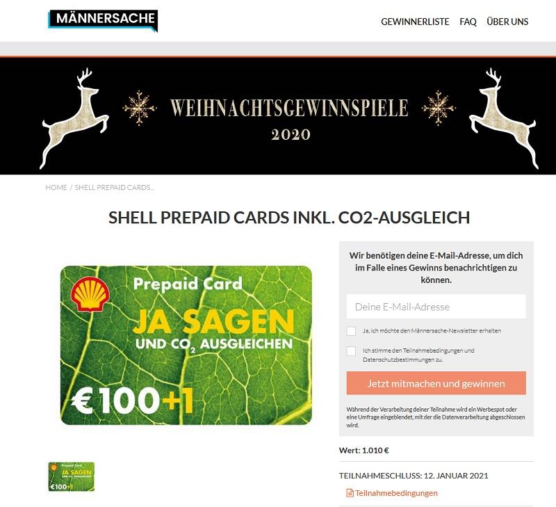 Shell Prepaid Cards gewinnen: Männersache Gewinnspiek
