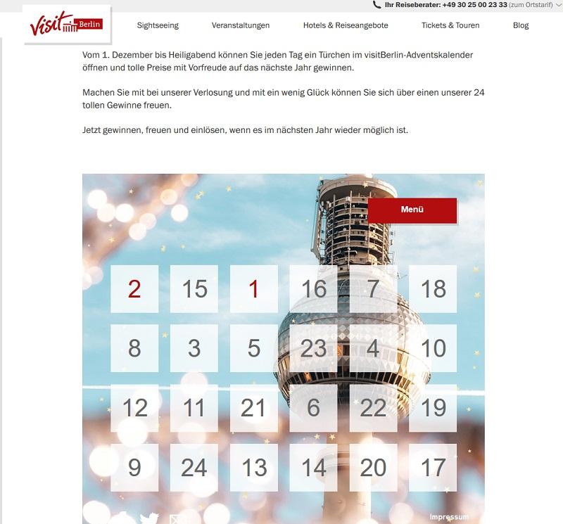 Visit Berlin Adventskalender Gewinnspiel 2020