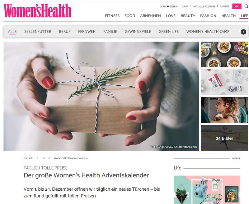 Women's Health Adventskalender Gewinnspiel 2020
