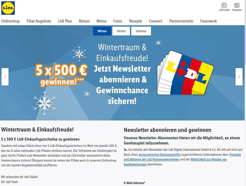 Gewinne 500 € Einkaufsgutschein: Lidl Gewinnspiel