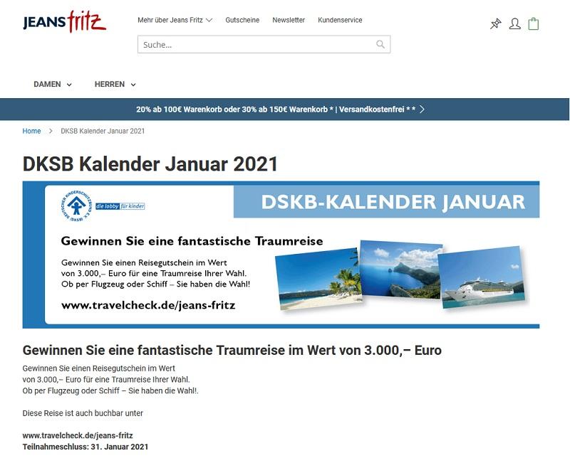 Gewinne einen 3.000€ Reisegutschein: Jeans Fritz Gewinnspiel
