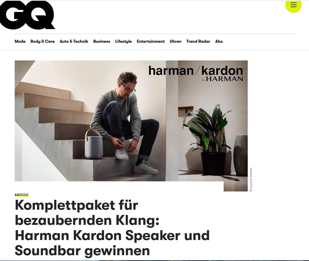 Harman Kardon Speaker und Soundbar gewinnen GQ Gewinnspiel