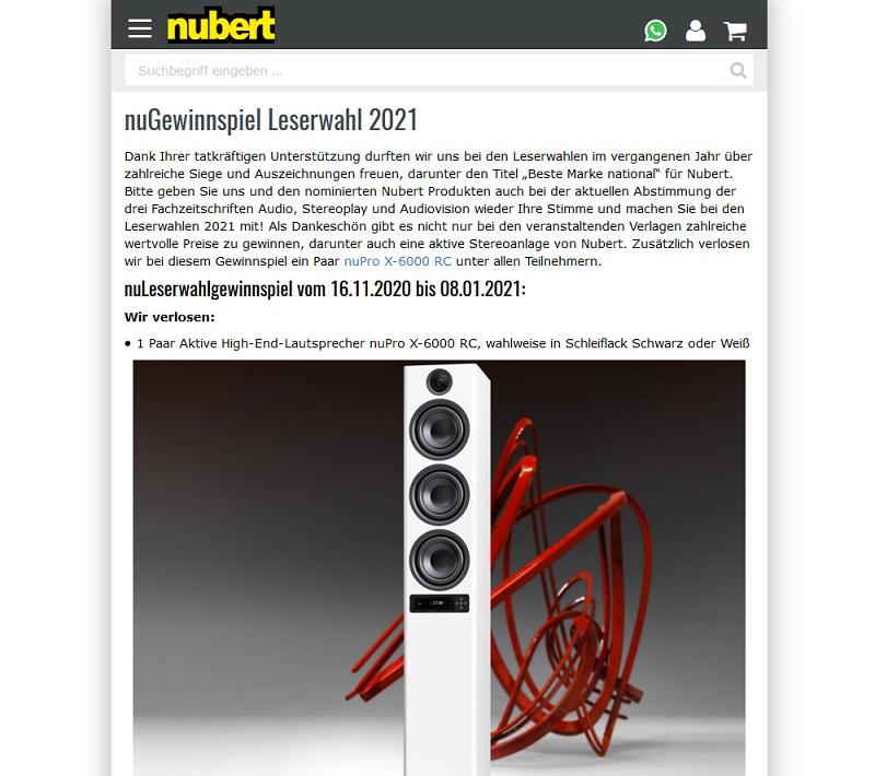 High-End-Lautsprecher nuPro X-6000 RC gewinnen: Nubert Gewinnspiel