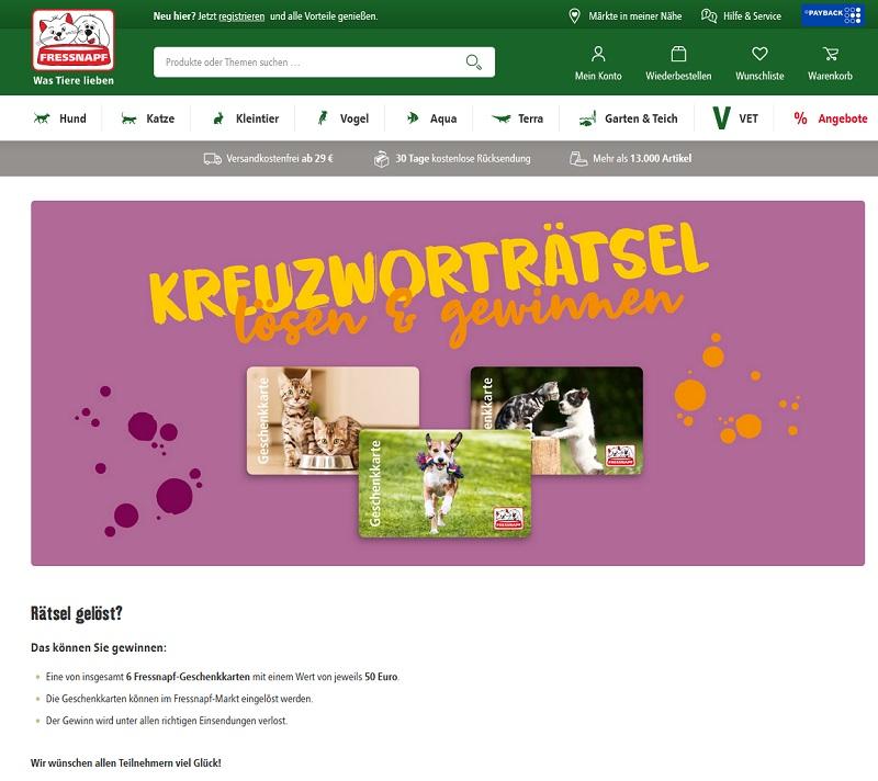 Jetzt 50 € Einkaufsgutscheine gewinnen Fressnapf Gewinnspiel