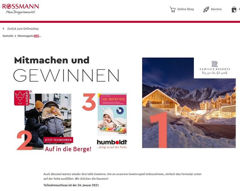 Jetzt Familux Resort Kurzurlaub gewinnen - Rossmann Gewinnspiel