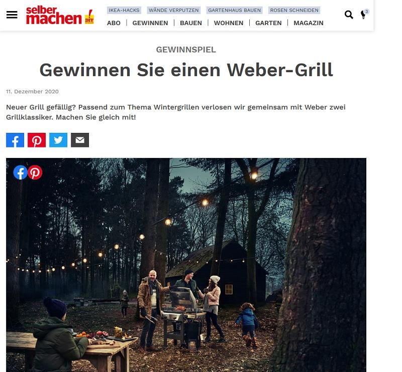 Weber Grill Gewinnspiel 2021