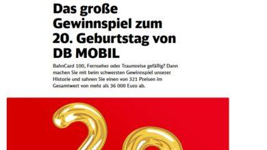 Jetzt hochwertige Preise gewinnen: DB Mobil Gewinnspiel