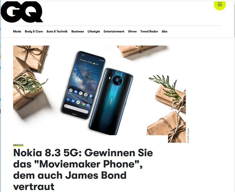 Nokia 8.3 5G gewinnen: GQ Gewinnspiel