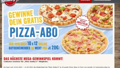 Pizza-Abos gewinnen Smiley's Gewinnspiel