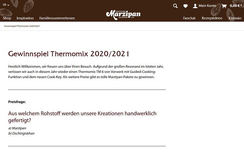 Vorwerk Thermomix gewinnen Odenwälder Marzipan Gewinnspiel