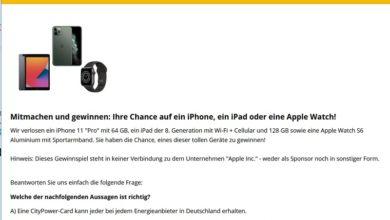 "iPhone 11 ""Pro"", iPad oder Apple Watch S6 gewinnen: CityPower Gewinnspiel"