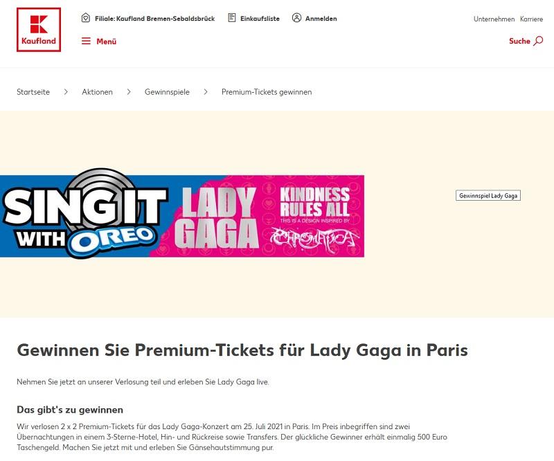 Gewinne eine Lady Gaga Konzertreise Kaufland Gewinnspiel