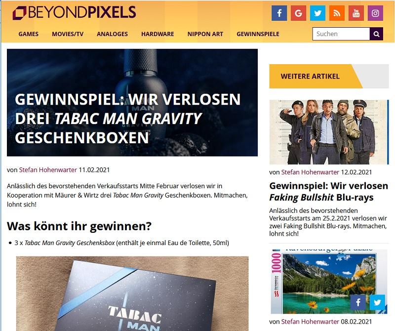 Gewinne eine Tabac Gravity Eau de Toilette Geschenkbox Beyond Pixels Gewinnspiel