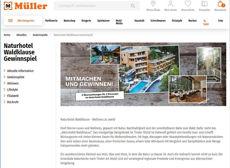 Gewinne einen Urlaub im Naturhotel Waldklause: Müller Gewinnspiel