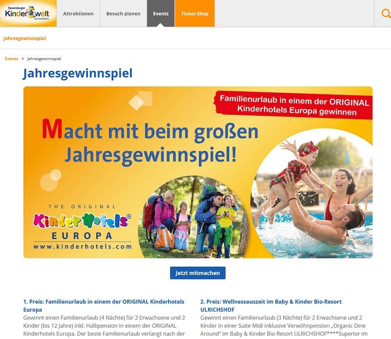 Jetzt Familienurlaub und andere Preise gewinnen – Ravensburger Kinderwelt Gewinnspiel