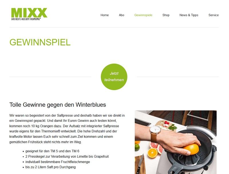 Jetzt Saftpresse gewinnen – MIXX Gewinnspiel