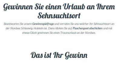 Nordsee Schleswig-Holstein Urlaub gewinnen: nordseetourismus.de Gewinnspiel