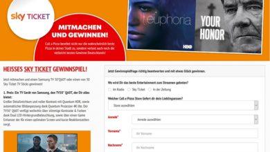 Samsung TV oder Sky Ticket TV Sticks gewinnen Call a Pizza Gewinnspiel