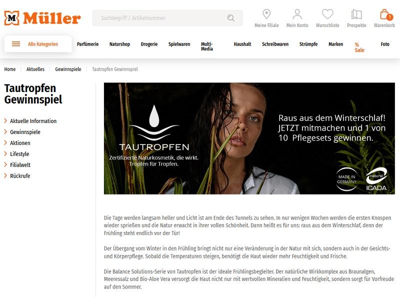 Tautropfen Naturkosmetik Plegeset gewinnen Müller Gewinnspiel