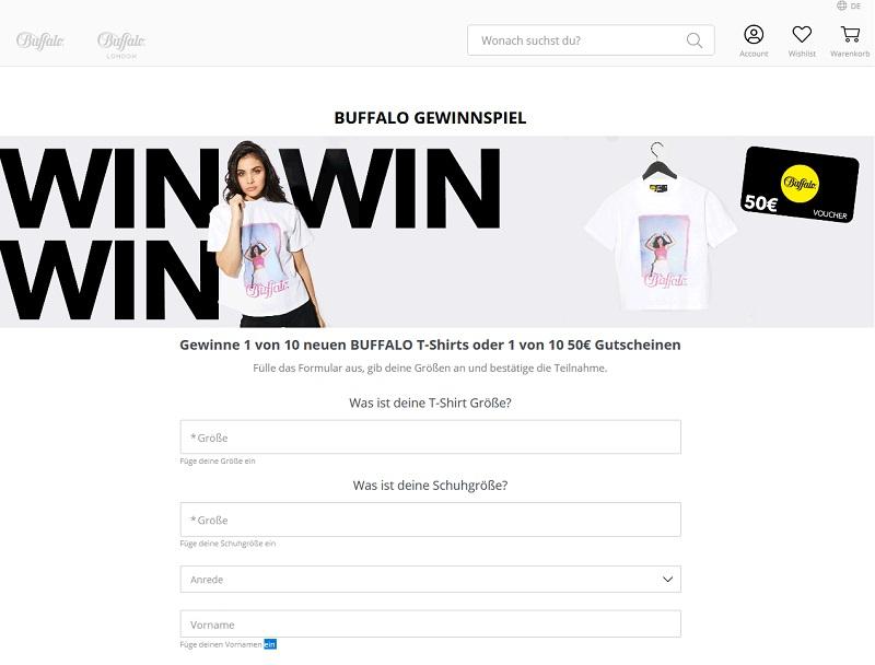 Gewinne T-Shirts & Gutscheine BUFFALO Gewinnspiel