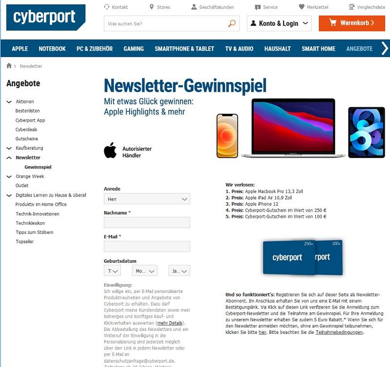 Jetzt Apple Produkte gewinnen – Cyberport Gewinnspiel