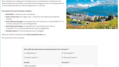 Schweiz-Urlaub für 2 gewinnen Ameropa Gewinnspiel