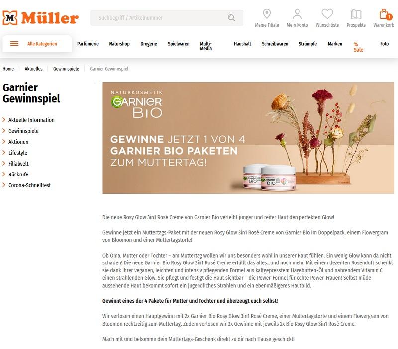 Jetzt Garnier Bio-Paket gewinnen – Müller Gewinnspiel
