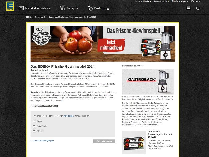 Jetzt Gastroback Cook & Mix Plus gewinnen: Edeka Gewinnspiel