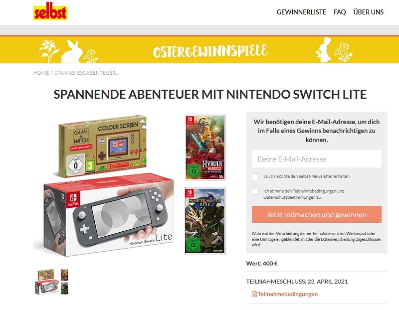 Jetzt Nintendo Switch Lite gewinnen – selbst.de Gewinnspiel