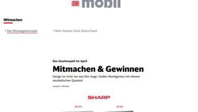 Jetzt Sharp Party-Paket gewinnen – DB Mobil Gewinnspiel
