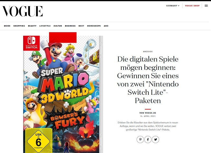 Nintendo Switch Lite gewinnen VOGUE Gewinnspiel
