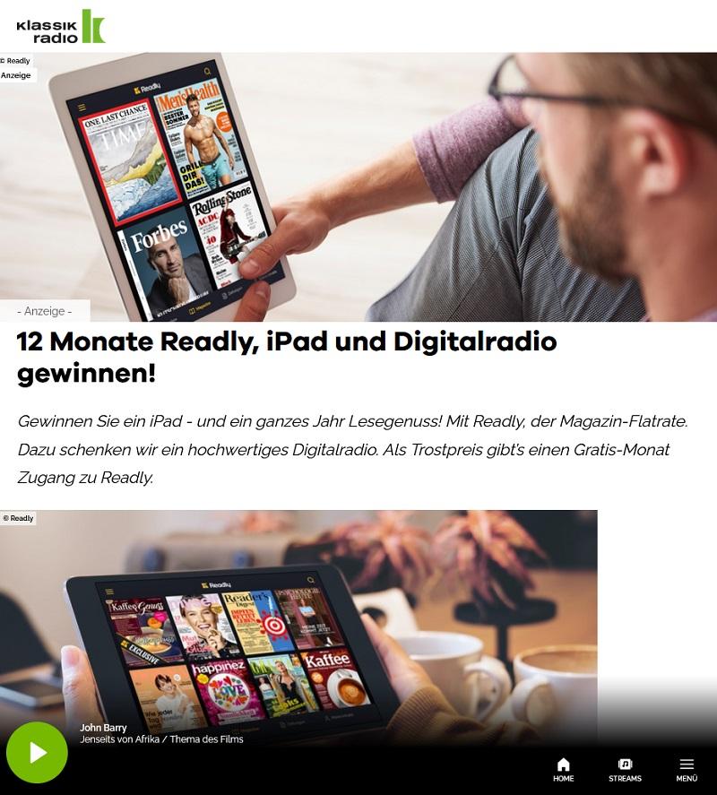 iPad, Readly Flatrate & Digitalradio gewinnen: Klassik Radio Gewinnspiel