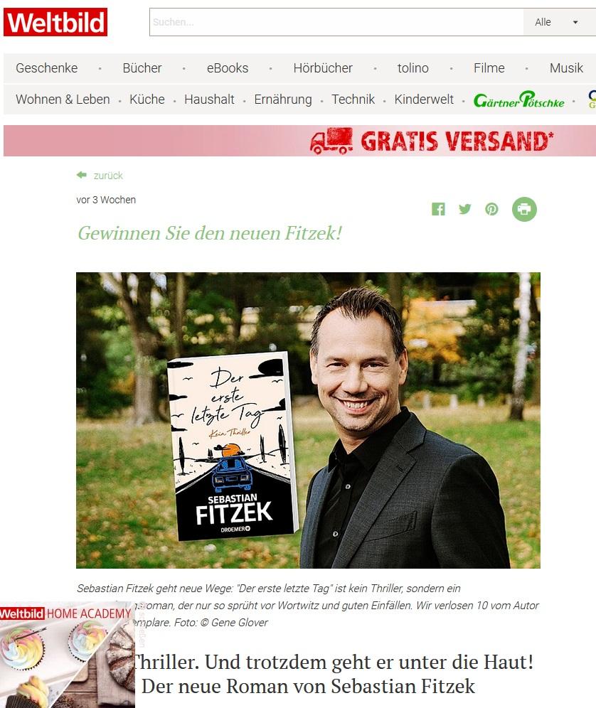 """""""Der erste letzte Tag"""" von Sebastian Fitzek gewinnen: Weltbild Gewinnspiel"""