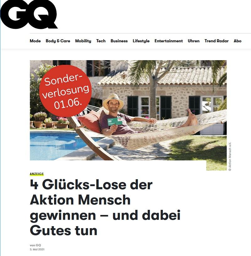 Jetzt Aktion Mensch Glücks-Los gewinnen: GQ Magazin Gewinnspiel